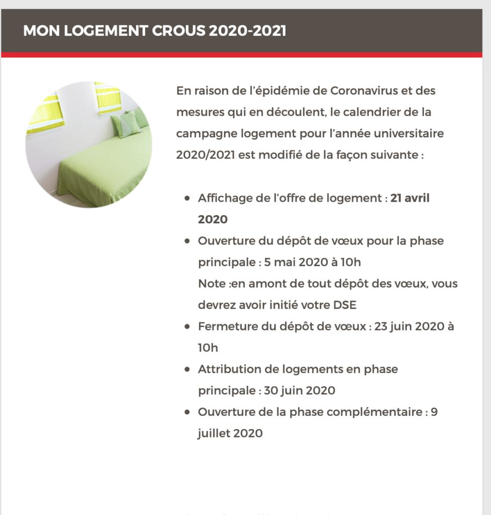 calendrier détaillé de la campagne logement pour l'année universitaire 2020/2021