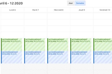 calendrier de réservation de cours en ligne